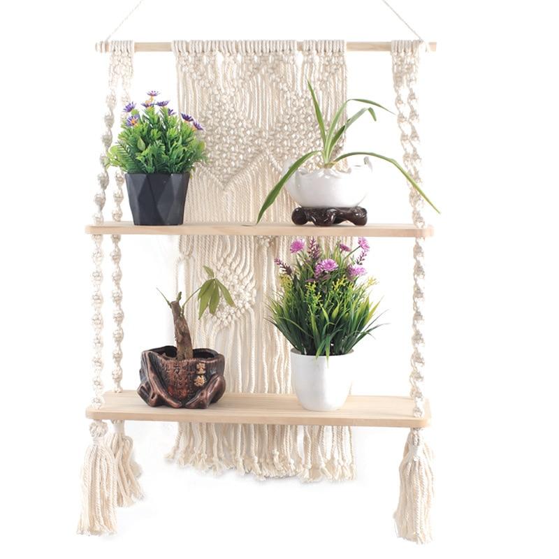 Fait à la main en coton corde tissage décoration murale cintres tapisserie fang wu jia conseil plante Pot titulaire