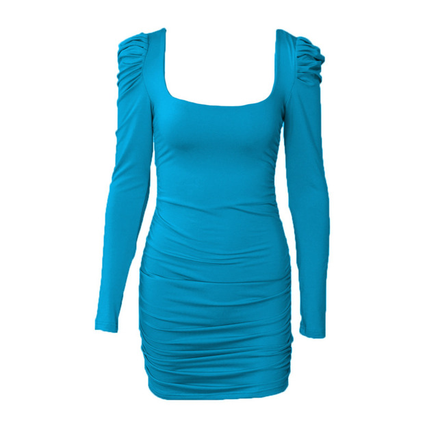 Women Long Sleeve Sexy Bodycon Mini Dress Autumn Winter Basic Square Collar Ruched Slim Black Party Club Short Dress Vestidos 5