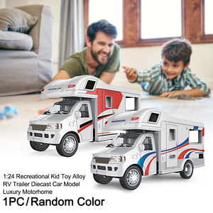 1:24 RV Trailer Simulation Car Model Craft Random Color Luxury Motorhome Alloy Home Decoration Kid Toy Table Diecast Gift(China)