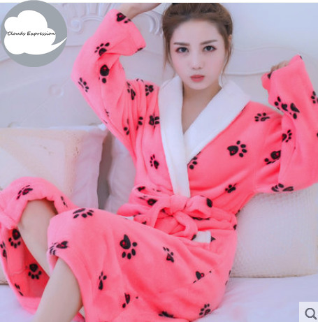 Winter Warm Coral Fleece Robe Womens Bathrobe Women's Bathrobe Nightgown Kimono Floral Dressing Gowns Sleepwear Home Clothing