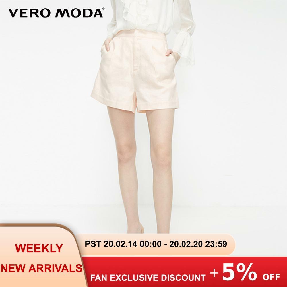 Vero Moda Women's 62% Linen OL Style Casual Shorts   319215506