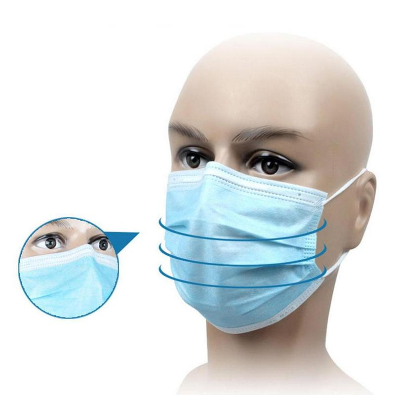10pcs/pack Non Woven Disposable Face Respirator Mask 3 Layer Earloop Activated Carbon Anti-Dust Proof Mouth Mask