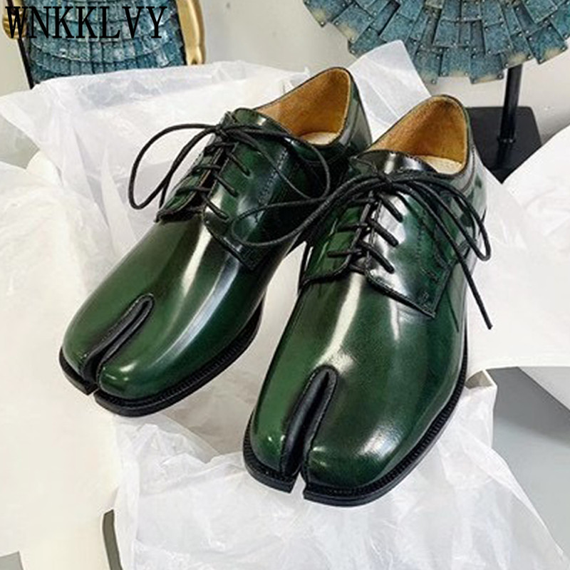 Flat genuine leather Split toe Shoes Woman Silver spray paint lace up pig trotter horseshoe shoes british style casual shoes