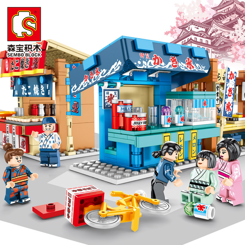 City Retail Shop Building Blocks Japan Food Octopus Sushi Store Bricks Mini Street View Kids Assembly Model Sets Girls Toys Gift