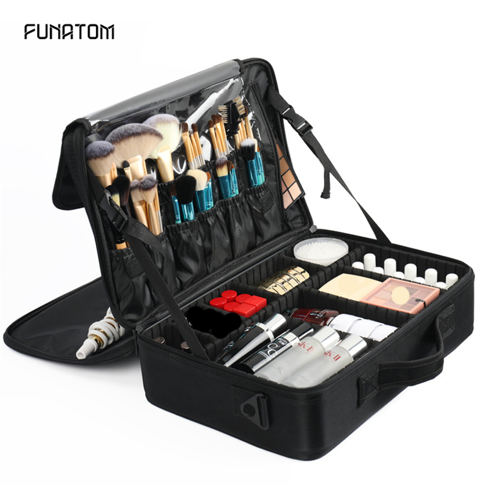 2019 Professional Vanity Cosmetic Bag Organizer Women Travel Make Up Cases Big Capacity Cosmetics Suitcases For Makeu