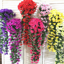 Wisteria Artificial Flower Vine Wreath Wedding Arch Decoration Fake Plant Leaf Silk Flowers Simulation Violet Orchid Party