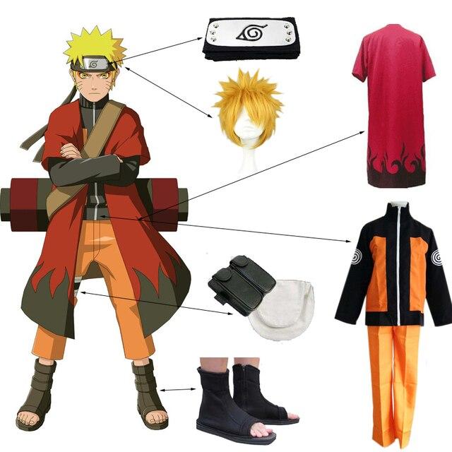 Anime Costumi Cosplay di Naruto Uzumaki Naruto 2nd Outfits Uniformi Set con Mantelli Puntelli di Halloween Vestiti Del Partito Giapponese