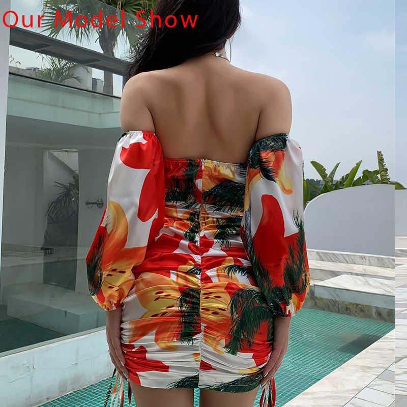 Itsroya Bodycon Dress 2020 딥 브이 넥 오프 숄더 플로랄 프린트 중공 여성 드레스 여름 짧은 드레스 Vestidos