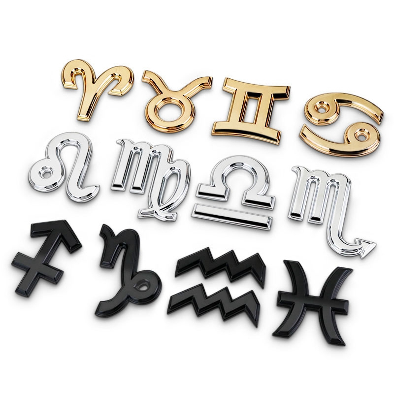 Noizzy Zodiac Sign Aquarius Scorpio Libra Car Emblem Pisces Sagittarius Motorcycle Capri Auto Sticker Sign for Women Accessories