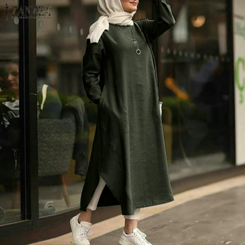 ZANZEA 2020 zarif islami maksi elbise kadın islam Sundress uzun kollu Vestidos kadın rahat katı Robe Femme artı boyutu 5XL
