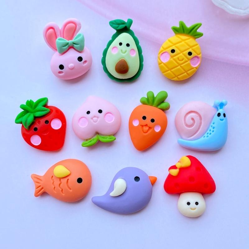 20Pcs New Cute Resin Mini Animal / Fruit Collection Flat Back Cabochon Scrapbook Kawaii DIY Embellishments Accessories J78