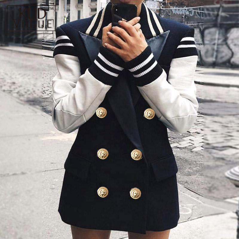 Fashion 2019 Designer Blazer Jacket Women Leather Patchwork Double Breasted Blazer Jacket High Quality Women Blazers  7479