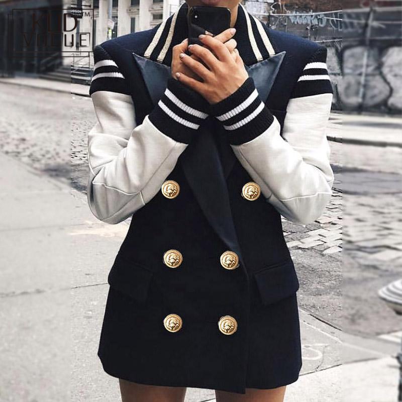 Fashion 2019 Designer Blazer Jacket Women Leather Patchwork Double Breasted Blazer Jacket High Quality Women Blazers  7479