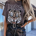 Summer Short Sleeve Loose Tops Sweatshirt Women Harajuku Tee Shirt Ladies Casual Tiger Letter Print T-Shirt Pullover Streetwear