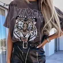 Summer Short Sleeve Loose Tops Sweatshirt Women Harajuku Tee Shirt Ladies Casual Tiger Letter Print T-Shirt Pullover Streetwear