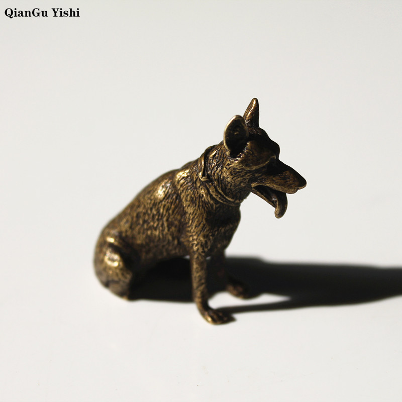 Solid Brass hound dog Key Chains Pendant Vintage Copper Animal Keychain Bag Charm Car Key Rings Holder Table ornament Gifts