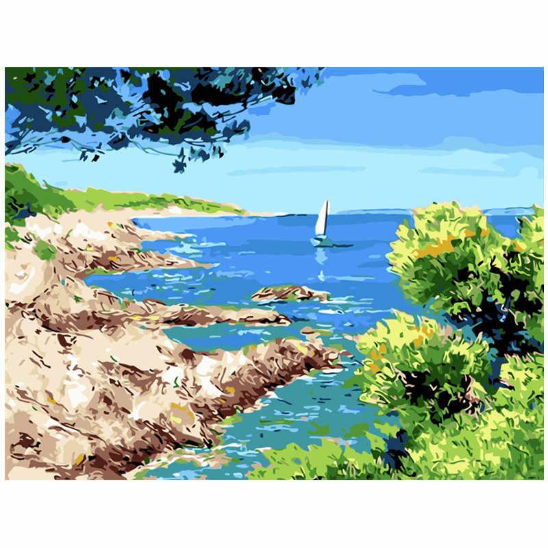 Dropshipping 60x75cm pintura por números DIY barco de mar paisaje pared arte pintura acrílica para decoración de boda