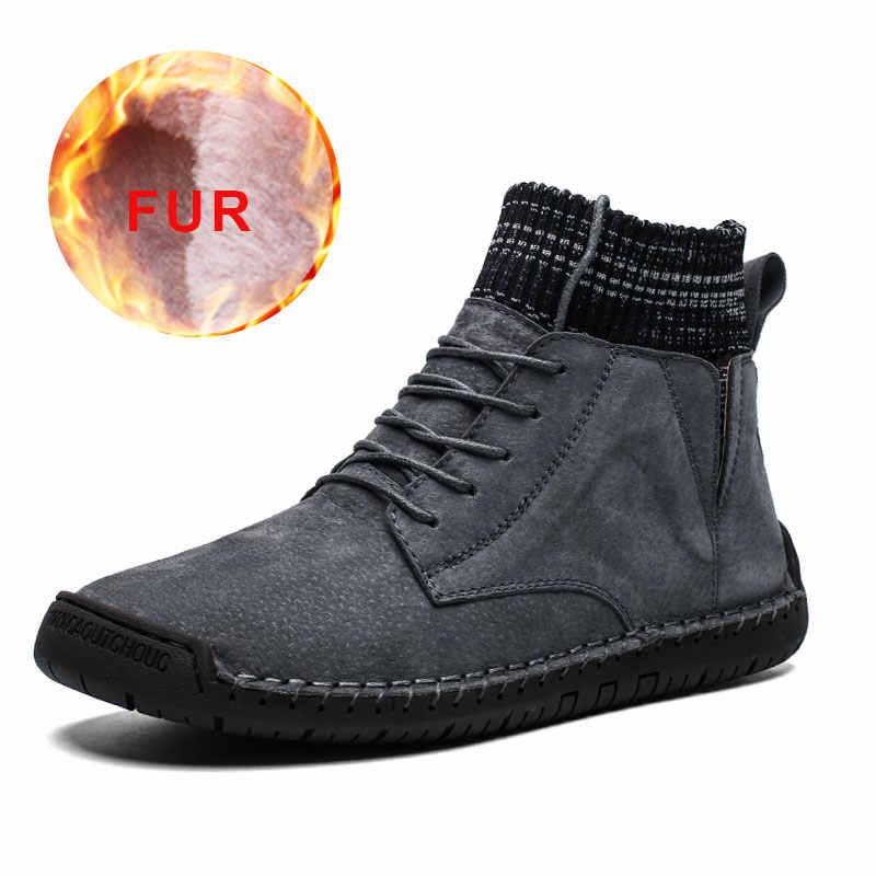 Nieuwe Mode Mannen Lederen Warme Schoenen Winter Mannelijke Lace Up Casual Geniune Schoenen Mannen Waterdichte Sneakers 2019 Zwart Bruin