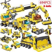694 blocos de construção do caminhão basculante da alta-tecnologia do guindaste da engenharia da cidade dos pces 8 em 1 figuras do carro da construção da cidade brinquedo para crianças
