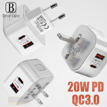 EU US UK Plug 20W Fast Charging Mobile Phone Charger Quick Charge QC 3.0 With PD Adapter Wall USB Charger For IPhone 12 Samsung