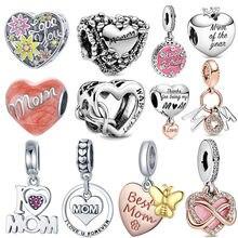 100% 925 prata esterlina eu amo mãe carta encantos se encaixa pulseira original pingente coração grânulo dia da mãe presente de aniversário jóias