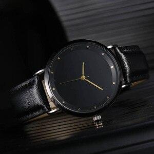 Image 3 - CL056 Full Black Brand Your Logo Custom Watches Genuine Leather Strap Own Logo Mens Watch Original Design reloj personalizado