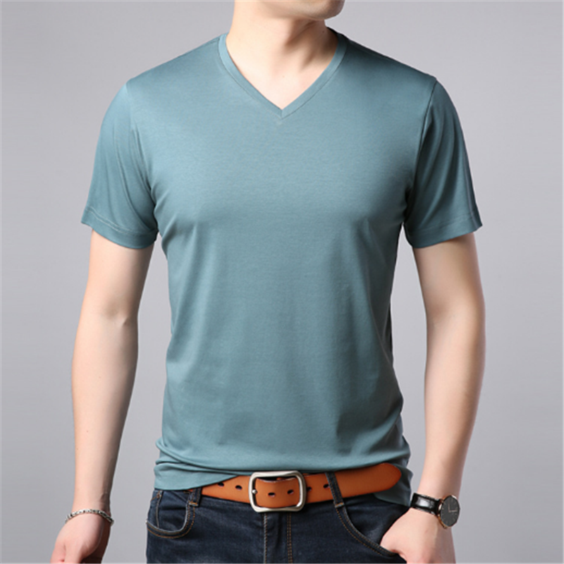 Men's Mercerized Cotton Short-sleeve T-shirt Summer New Solid Color V-neck Casual Slim Fit Tee Harajuku Streetwear Mens Clothing