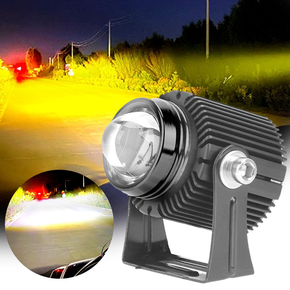 1/2Pcs Motorcycle LED Headlights Spotlights w/ Projector Lens Yellow White High Low Beam Fog Light Universal Auto Auxiliary Lamp