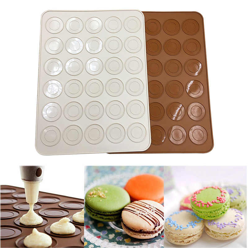 Silicone Macaron Macaroon Pastry Oven Baking Mould Sheet Mat 30-Cavity DIY Mold Baking Mat Useful Tools