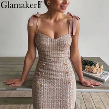 Glamaker Tweed grid elegant office lace up dress Sleeveless buttons pink bodycon