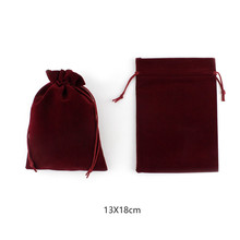 Small Bordeaux Red Drawstrings Velvet Bags For Wedding Favors Candy Party Jewelry Pouches