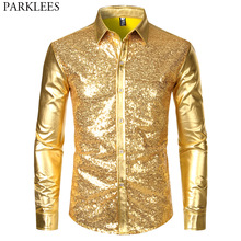 Men's Disco Shiny Gold Sequin Metallic Design Dress Shirt Long Sleeve Button Down Christmas Halloween Bday Party Stage Costume