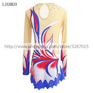 Image 2 - LIUHUO Women rhythmic gymnastics leotards for girls performance suit Artistic gymnastics dress Long sleeve Ice Skating dress