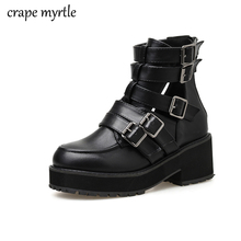 women short boots chunky heel ankle boots Buckle Strap Shoes Female Motorcycle fall black Boots Autumn shoes Punk Boots YMA913