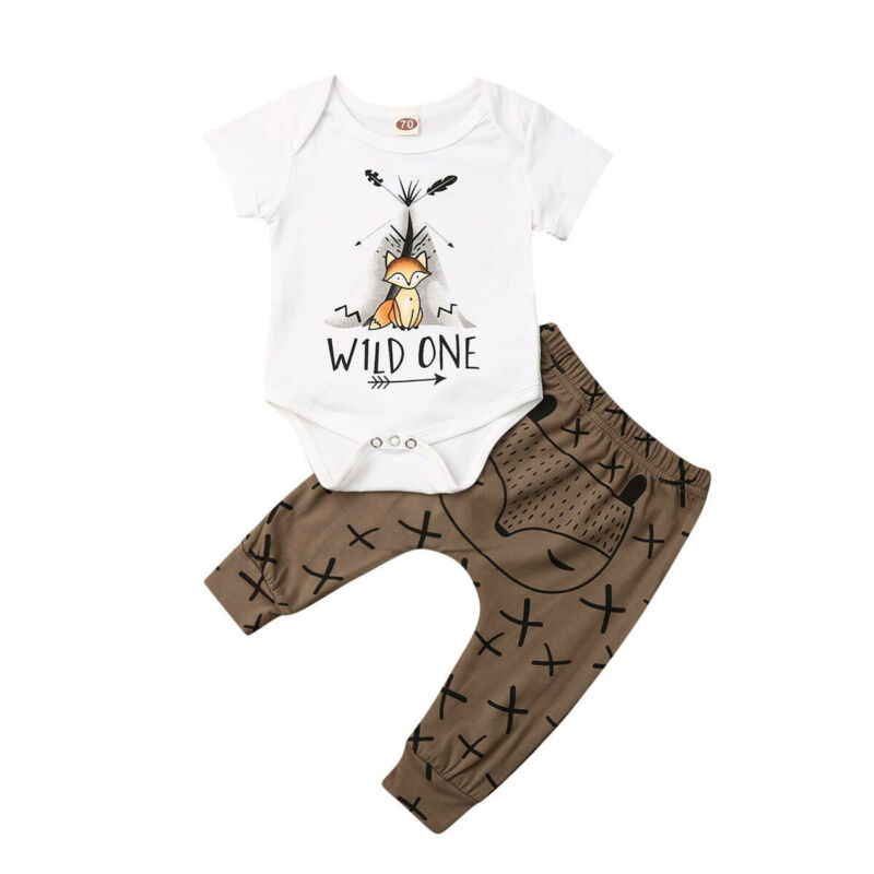 Emmababy Lovely Newborn Baby Boy Girl Fox Print Clothes Tops Romper+Harem Pants Outfit US