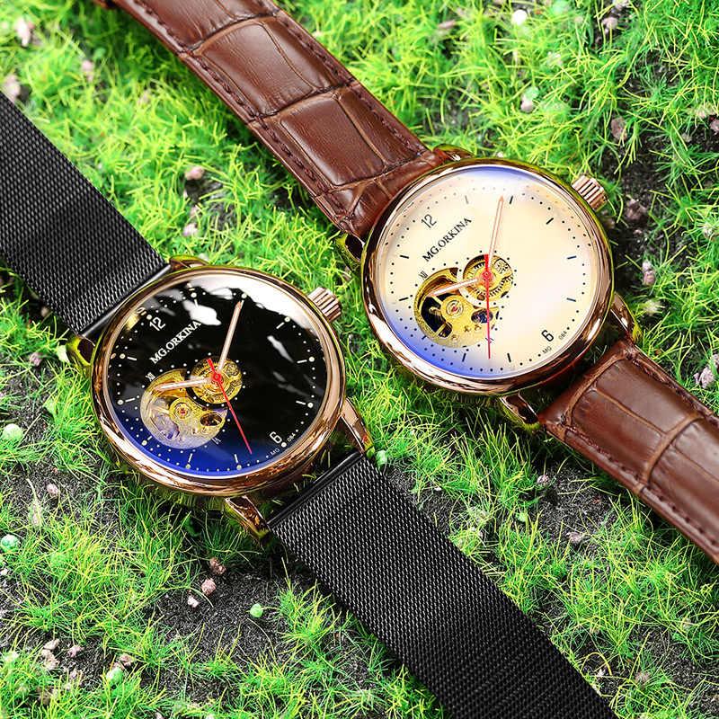 Reloj Hombre Orologi Automatici Mens di Sport di Modo di Maglia di Acciaio Inossidabile Della Fascia di Scheletro Meccanico Orologi da Polso Orologio da Polso per Gli Uomini
