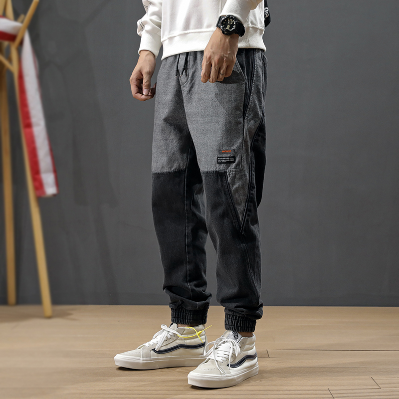 Fashion Streetwear Men Jeans Loose Fit Spliced Designer Cargo Pants Harem Jeans High Quality Japanese Hip Hop Jeans Men Joggers