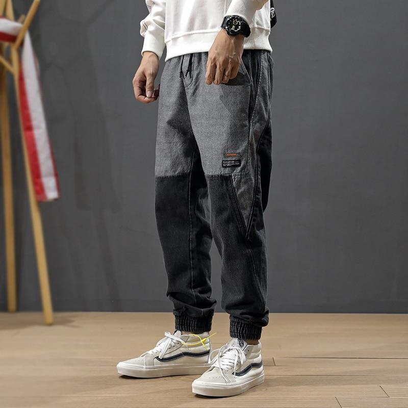 Fashion Streetwear Men Jeans Loose Fit Spliced Designer Cargo Pants Harem Jeans High Quality Japanese Hip Hop Jeans Men Joggers