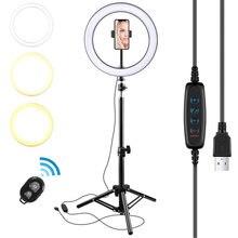 10 polegada led anel luz fotográfico selfie anel luz com tripé para smartphone youtube estúdio de vídeo maquiagem tripé aro luz