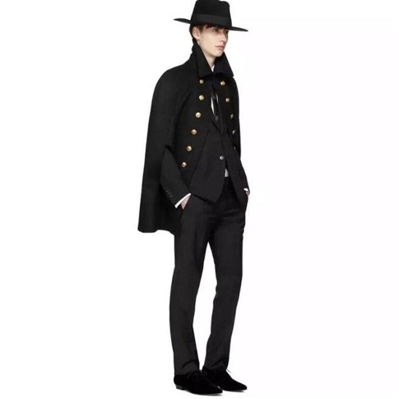 Large sleeveless black coat men's medium-length tweed Shawl Cape Woolen coat cloak bat shirt double-breasted