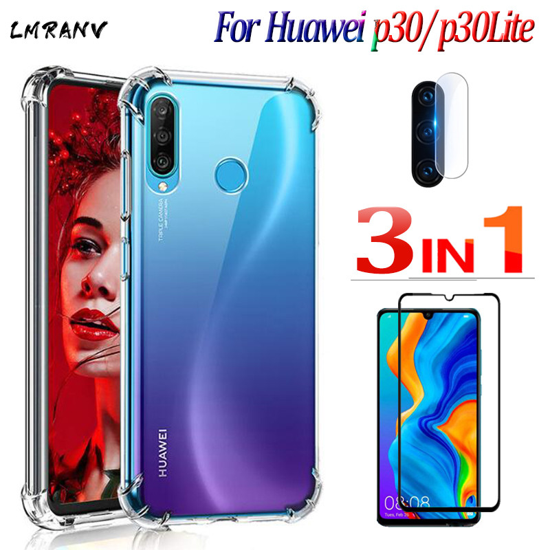 glass+<font><b>Huawei</b></font> <font><b>p30</b></font>-<font><b>lite</b></font> new edition transparent case for <font><b>huawei</b></font> <font><b>p30</b></font> 40 <font><b>lite</b></font> e <font><b>smartphone</b></font> anti-knock coque <font><b>huawei</b></font> p 30 30lite cases image