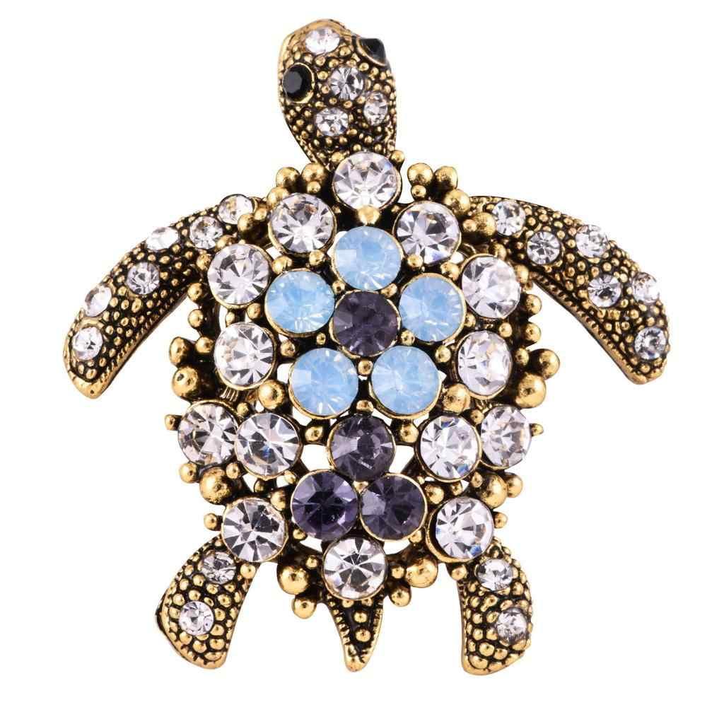 Lnrrabc Kecil Tortoise Bros Hat Aksesoris Syal Klip Wanita Kristal Berlian Imitasi Hewan Pin Bros Fashion Perhiasan