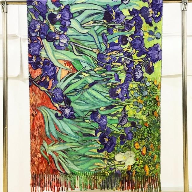 Designer France Irises Print Cashmere Scarf Women Van gogh Oil Painting Pashmina Shawl Winter Luxury Brand Stole Plus Size 200cm