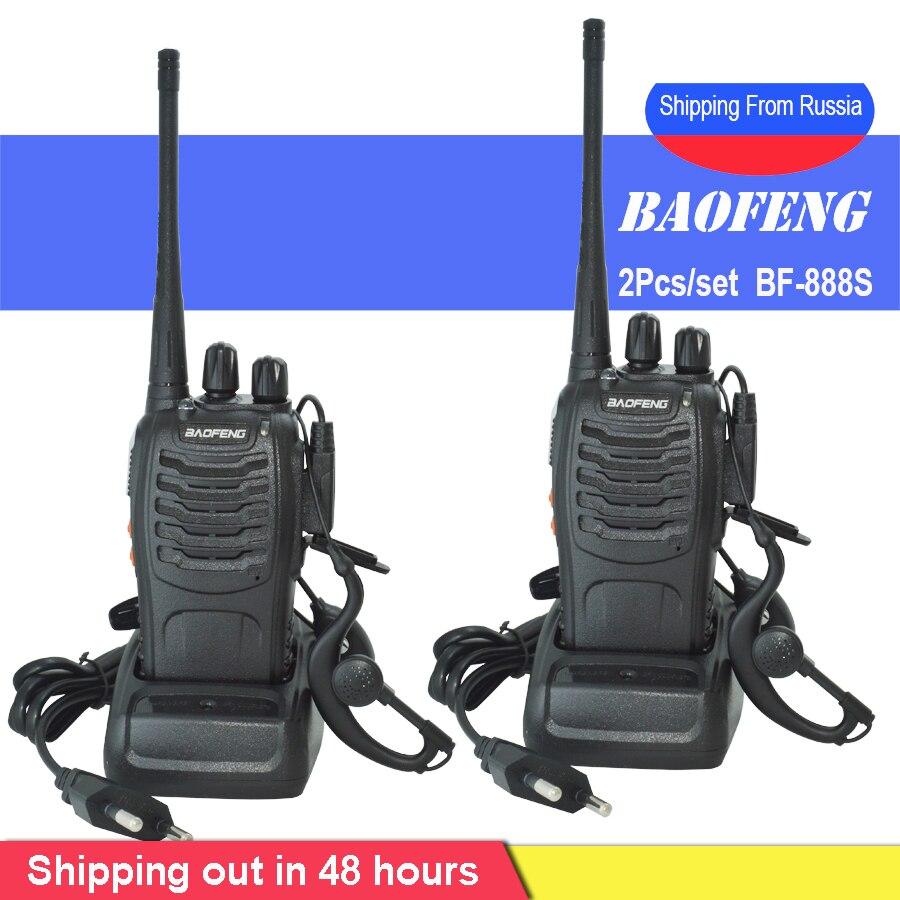 2 Pçs/set BF-888S baofeng Walkie Talkie Portátil estação de rádio Comunicador BF888s 5W BF 888S Transmissor Transceptor de rádio conjunto