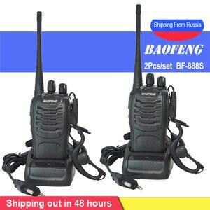 Image 1 - 2 יח\סט baofeng BF 888S מכשיר קשר נייד רדיו תחנת BF888s 5W BF 888S Comunicador משדר משדר רדיו סט