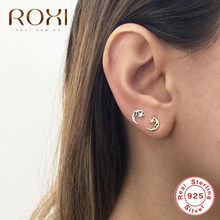 ROXI 925 Sterling Silver Women's Fashion Cute Tiny Star Moon Stud Earrings for School Girls Ladies Small Earrings Boho Jewelry(China)