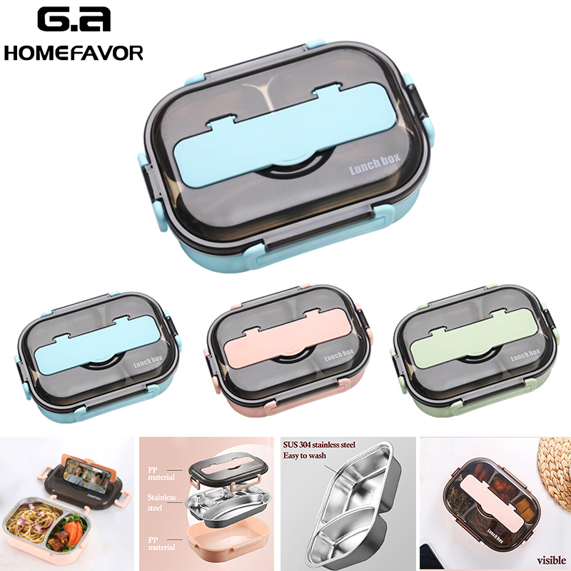 Lunch Box For Children Adult 304 Stainless Steel Leakproof Bento Box Food Containers Sport Snack Storage Box With Tableware|Lunch Boxes| |  - title=