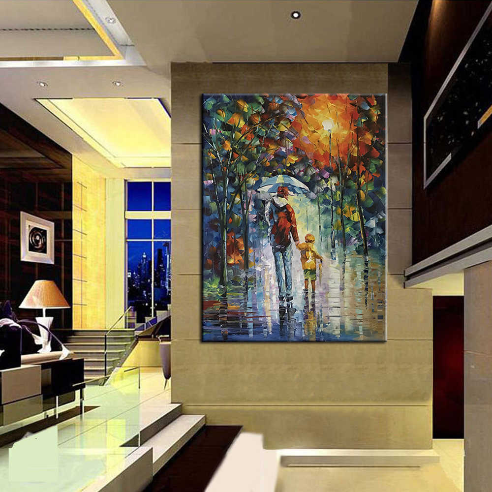 Arthyx Large Size Hand Painted Palette Knife Oil Paintings On Canvas Modern Abstract Wall Art Picture For Living Room Home Decor