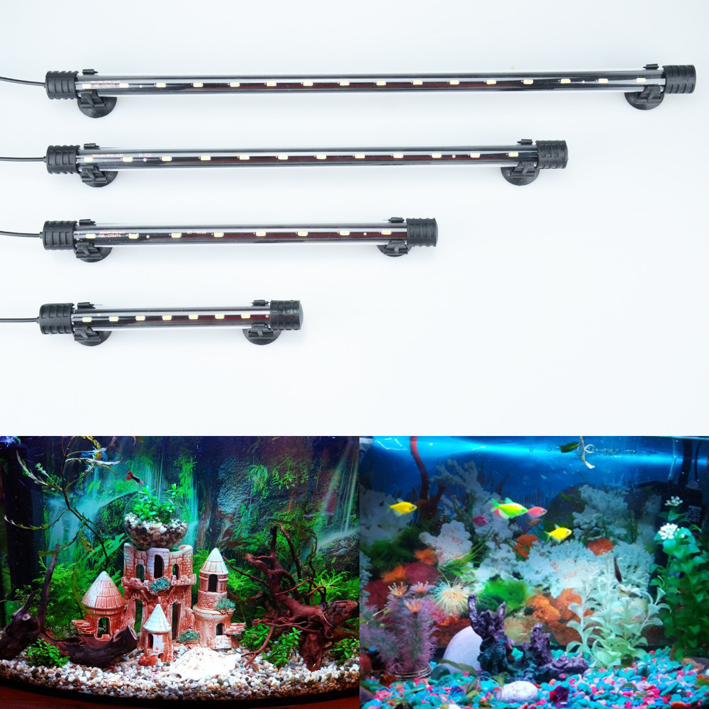 Aquarium Light LED Waterproof Fish Tank Light Underwater Fish Lamp Aquariums Decor Lighting Plant Lamp 18-48CM 220V EU Power