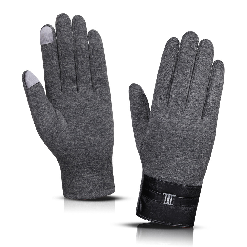 Men Winter Gloves Touch Screen Autumn Full Finger Black Grey Warm Thermal Windproof Mitten Knitted Cuff Driving Guantes Cycling